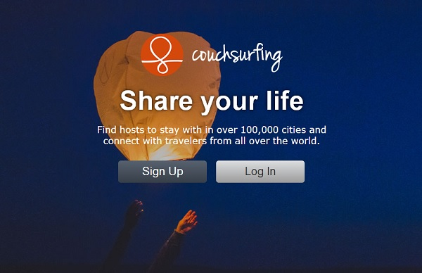 Couchsurfing Login über Facebook