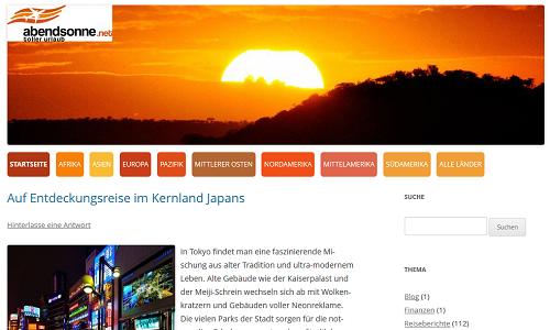Überblick Reiseländer auf abendsonne.net