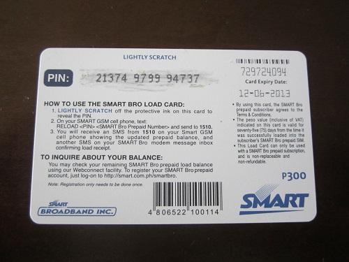 """Guthaben-Karte (""""load"""") für Smat Bro: beim Aufladen der Prepaid-SIM muss u.a. der individuelle Pin eingegeben werden"""