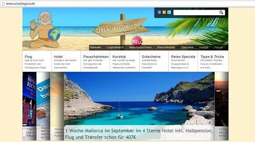 Mit dem Urlaubsguru lassen sich preiswerte Reisen finden. Screenshot der Homepage von www.urlaubsguru.de am 19.8.13