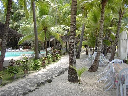 Das Coco Grove Beach Resort liegt in einem ursprünglichen Palmenhain. Links zu sehen ist der kleinere hoteleigene Swimming Pool.