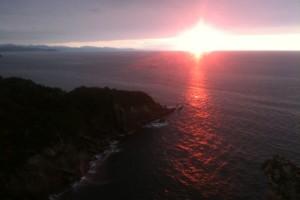 Sonnenuntergang auf dem Weg von Pasajes nach San Sebstian (Donostia)